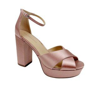 Who What Wear Pink Satin Block Heel Platform shoes